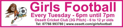 Ossett Girls Football - Every Tuesday 6pm until 7pm at Ossett Cricket Club
